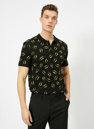 Koton Batman Lisansli Baskılı Slim Fit Polo Yaka T-Shirt Siyah